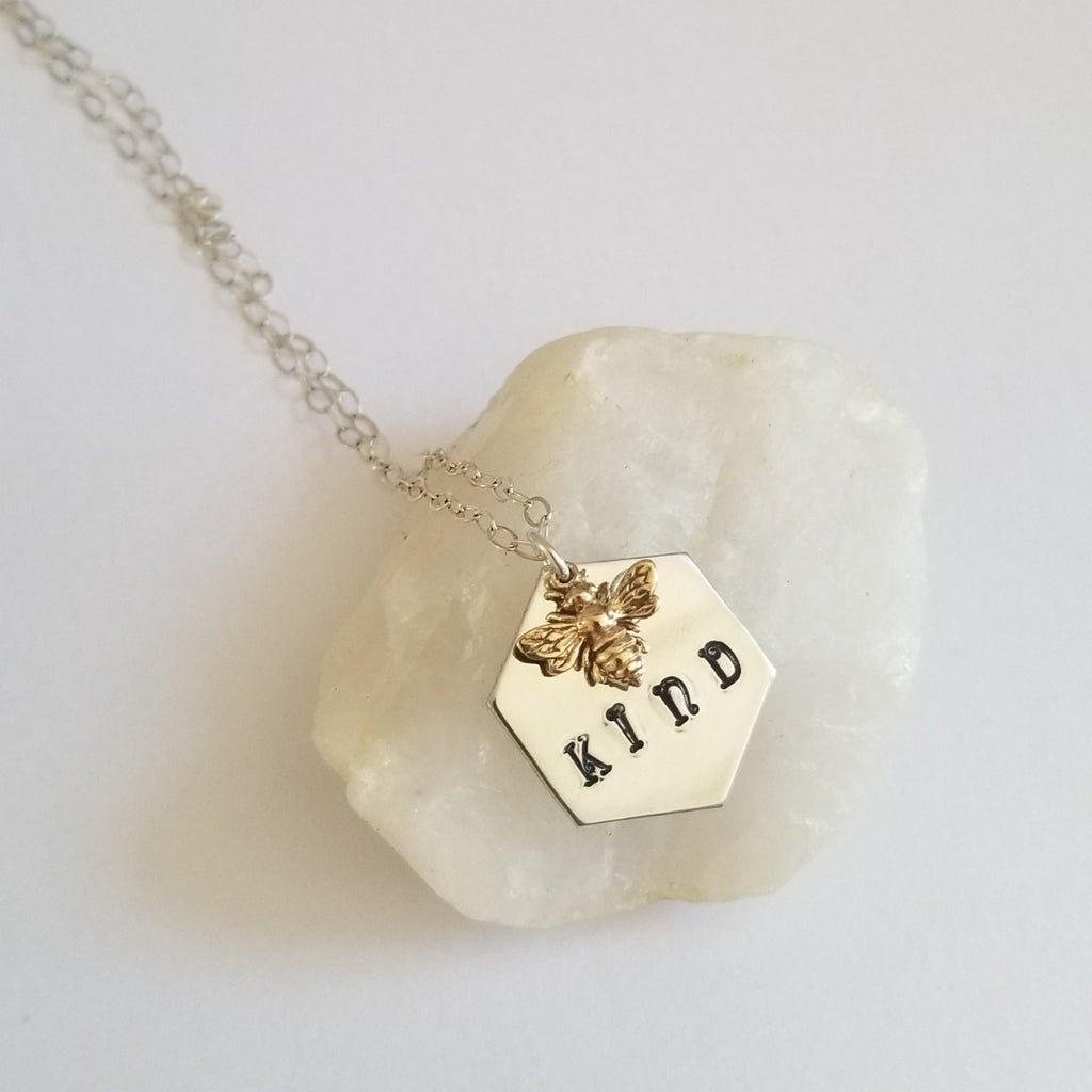 Hand stamped Necklace, Bee Kind Necklace