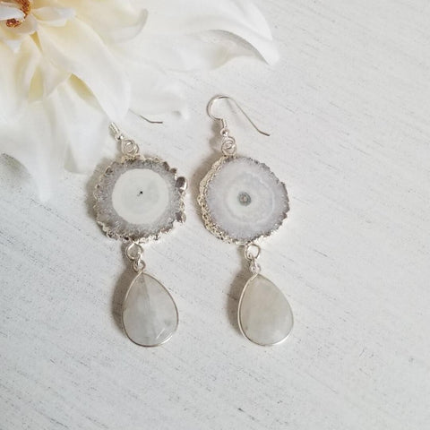 Stalactite slice earrings, boho wedding jewelry, Bridal Earrings