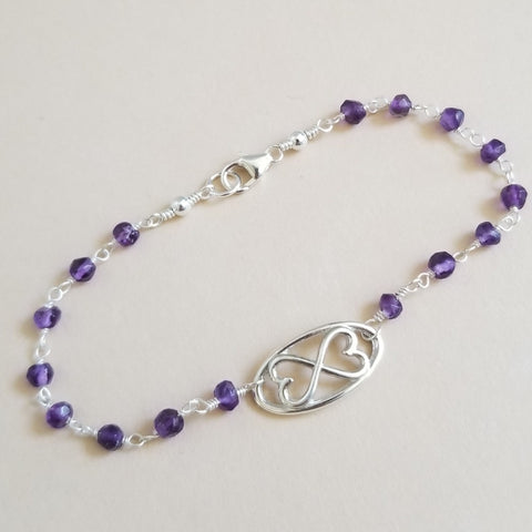 Natural Amethyst Bracelet with Infinity