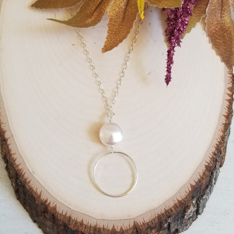 Sterling Silver Circle and Pearl Pendant Necklace