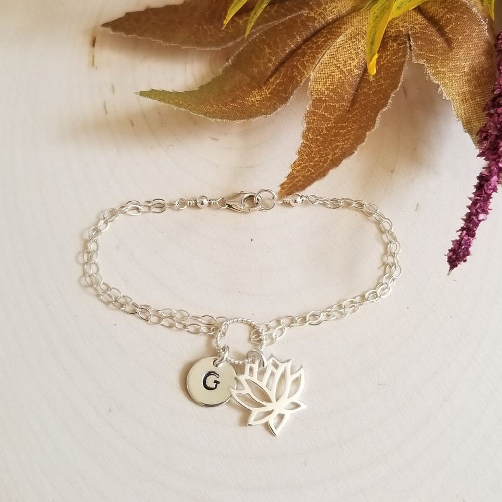 Sterling Silver Lotus Flower Charm Bracelet with Initial
