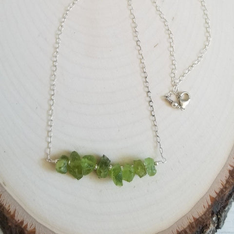 Raw Peridot Gemstone Bar Necklace