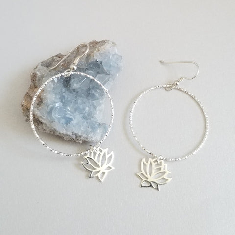 Sterling Silver Hoops with Lotus