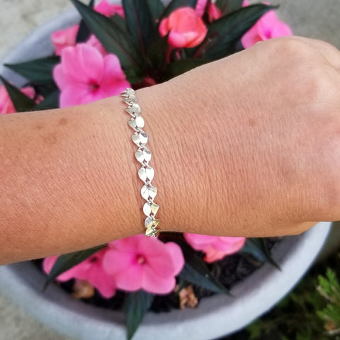 Sterling Silver Petals Chain Bracelet, Everyday Bracelet for Women