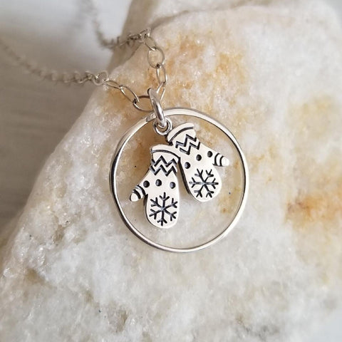 Sterling Silver Charm Necklace, Eternity Necklace, Winter Wedding Jewelry, Bridesmaid Gift
