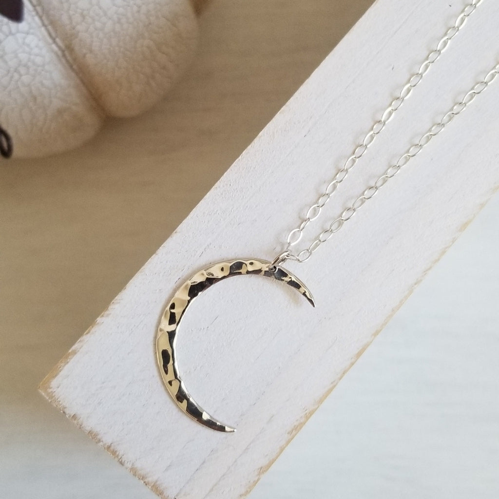 Sterling Silver Crescent Moon Pendant Necklace for Women