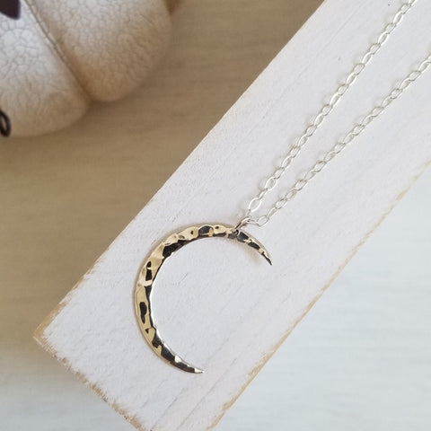 Crescent Moon Pendant Necklace, Sterling Silver Moon Necklace