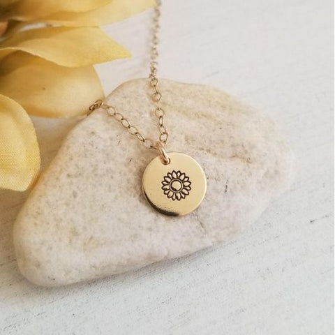 Dainty Gold Sunflower Necklace, Custom Stamped Disc Necklace