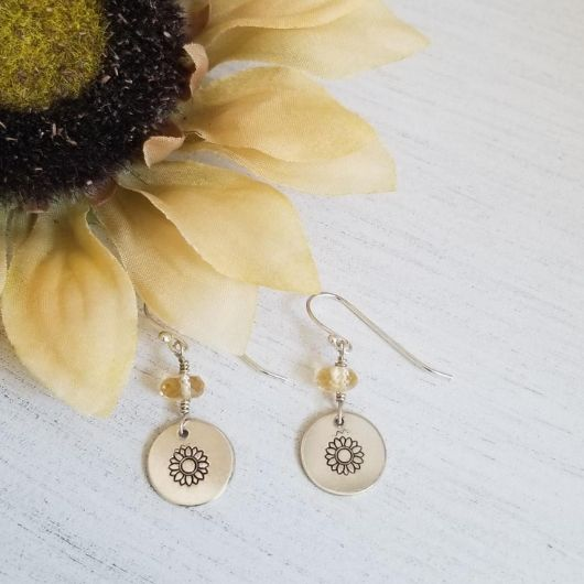 Dainty Sunflower and Citrine Earrings