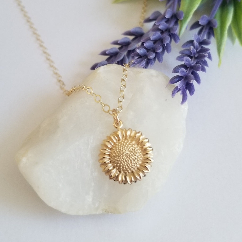 Gold Sunflower Charm Necklace, Gift for Her