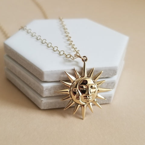Gold Sun and Moon Pendant Necklace