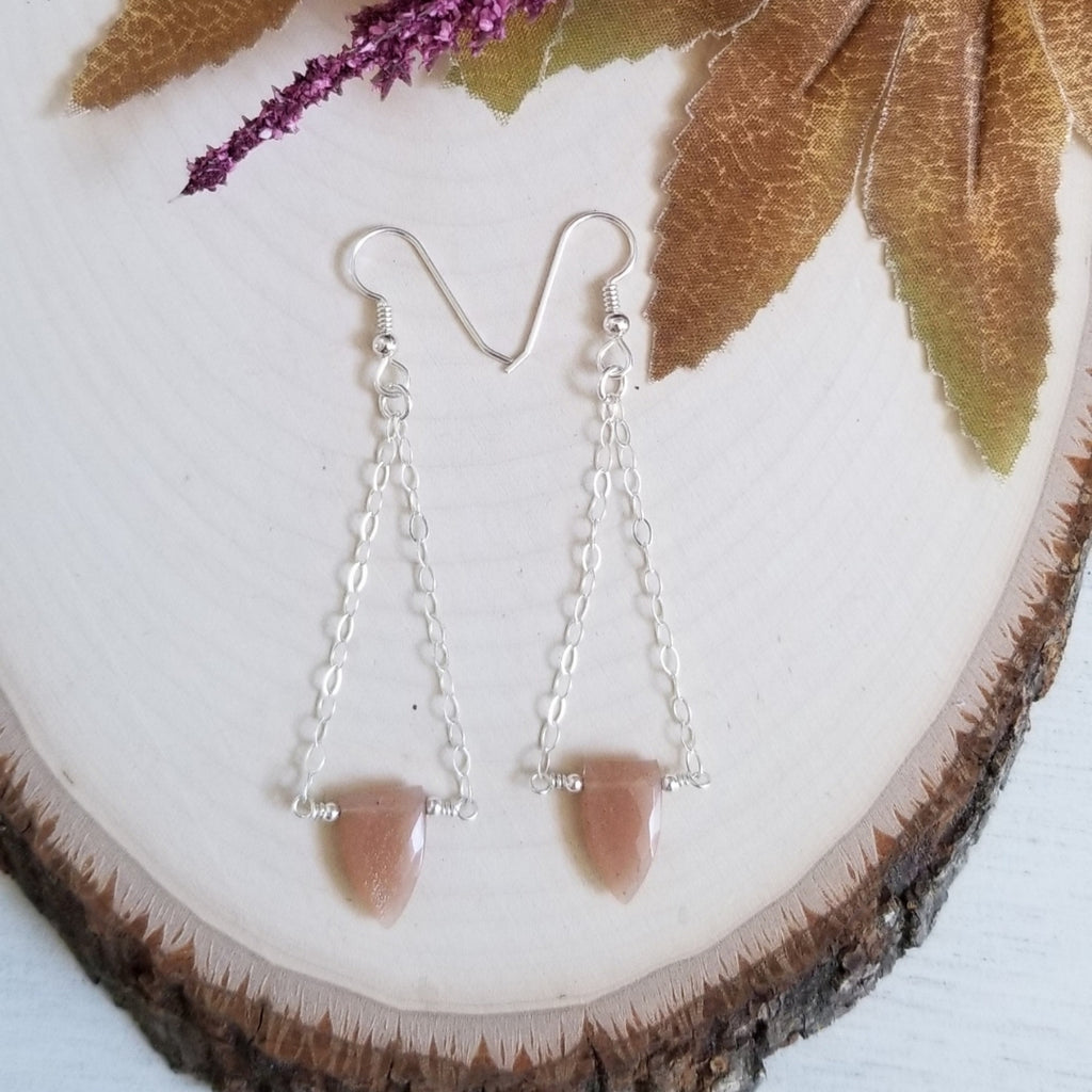 Sunstone earrings, long dangle earrings, boho style
