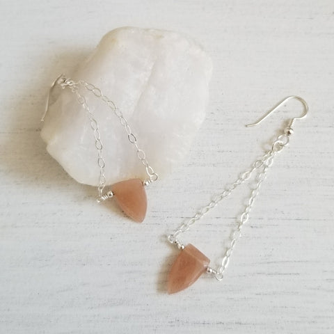 Long gemstone earrings, Sunstone chain earrings,