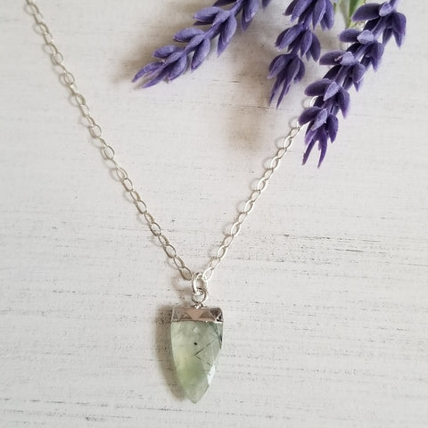 One of a Kind Prehnite Gemstone Pendant Necklace, Sterling Silver or Gold