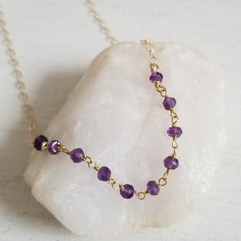 Dainty Amethyst Beaded Choker Necklace