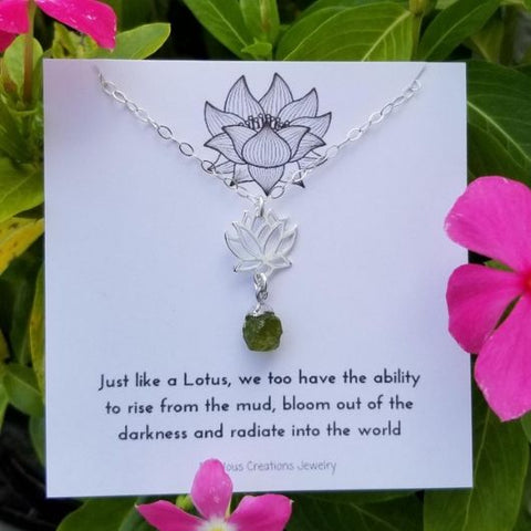 Gemstone Lotus Flower Pendant Necklace