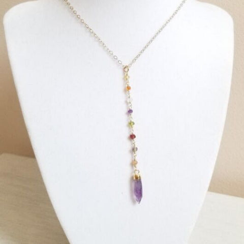 multi gemstone Y style necklace, gift for daughter, boho stone jewelry