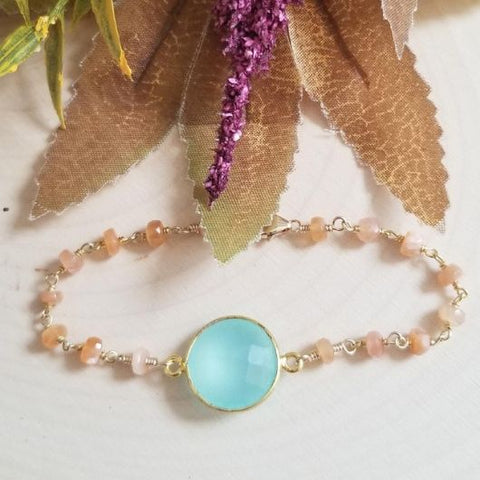 Aqua Chalcedony and Peach Moonstone Bracelet