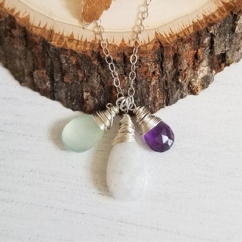 boho stone jewelry, amethyst necklace, mint green stone, Sterling Silver, gift for Mom