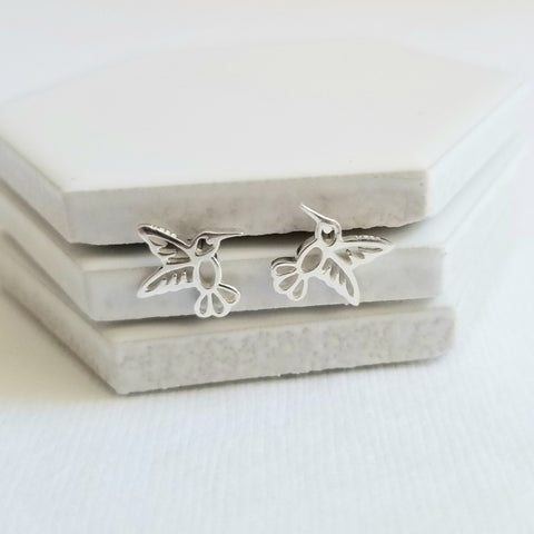 Tiny Sterling Silver Hummingbird Stud Earrings