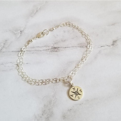 Sterling Silver Compass Charm Bracelet