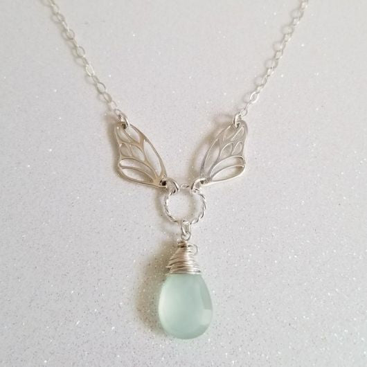 Unique Butterfly Wings Necklace with Natural Gemstone