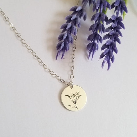 Dainty Lily Flower Disc Necklace, Sterling Silver or Gold