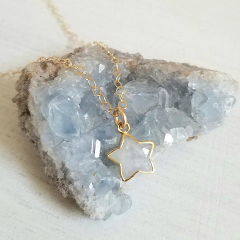 Gold Moonstone Star Necklace for women
