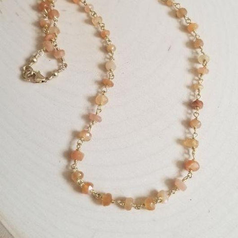Dainty Beaded Peach Moonstone Choker Necklace