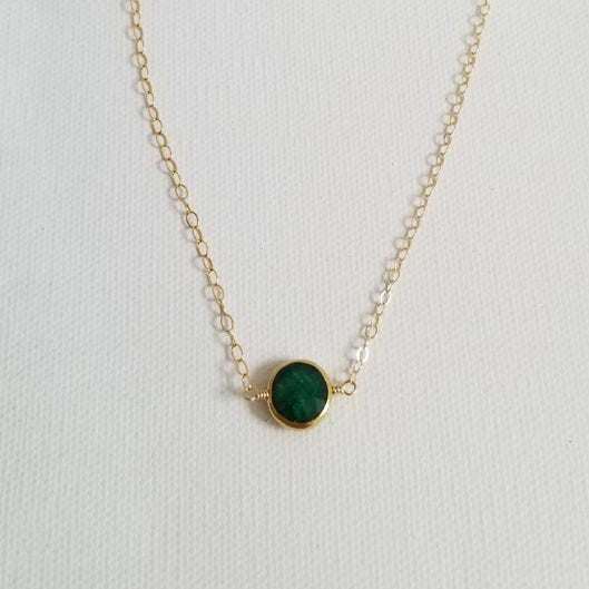 raw emerald, natural gemstone jewelry, birthday gift for her, dainty gold necklace