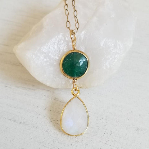 Gold teardrop pendant, May birthstone, dainty pendant, gift for Mom