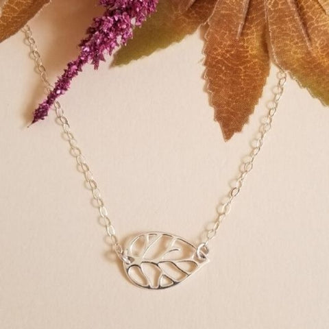 Sterling Silver Leaf Necklace, Choker Necklace