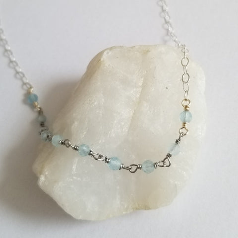 Sterling Silver Aquamarine Necklace, Dainty Beaded Necklace