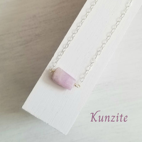 Pink Stone Necklace Kunzite, Gift for Her
