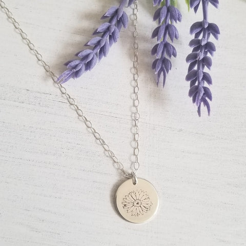 Gerbera Daisy Charm Necklace, Sterling Silver or Gold