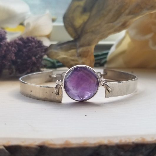 Sterling Silver Amethyst Bangle Cuff Style Bracelet