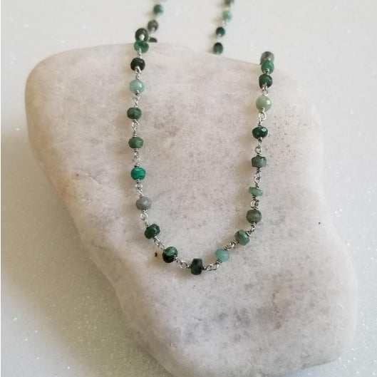 dainty raw emerald beaded chain, May Birthstone, birthday gift for friend