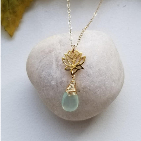 Gold Lotus Flower and Aqua Chalcedony Necklace