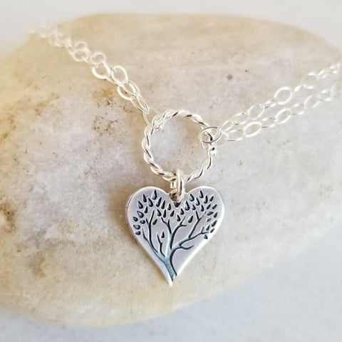 Sterling Silver Family Tree Heart Bracelet