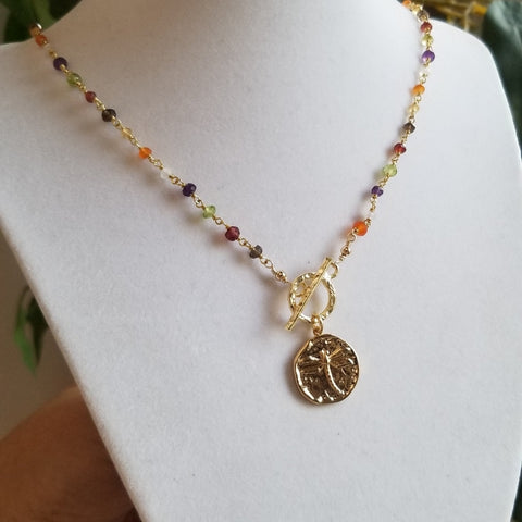 Gemstone Rosary Chain Necklace, Gold Medallion Necklace