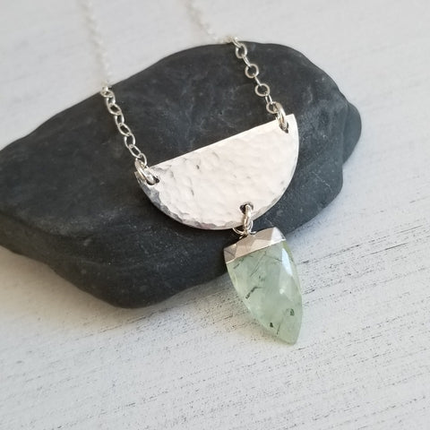 Hammered Half Moon Pendant, One of a kind Prehnite Necklace for Women