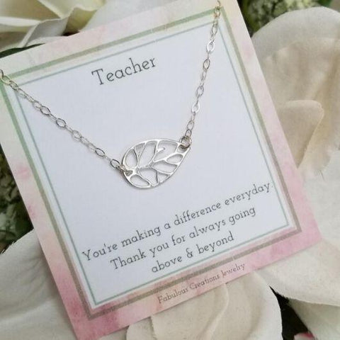 Teacher Gift, Sterling Silver Leaf Necklace