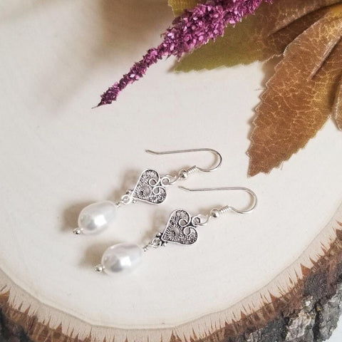 Sterling Silver Heart and Pearl Earrings, Gift for Mothers