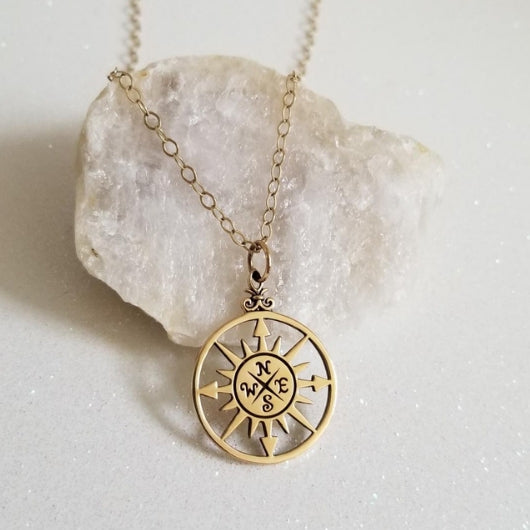 gold compass necklace, graduation gift