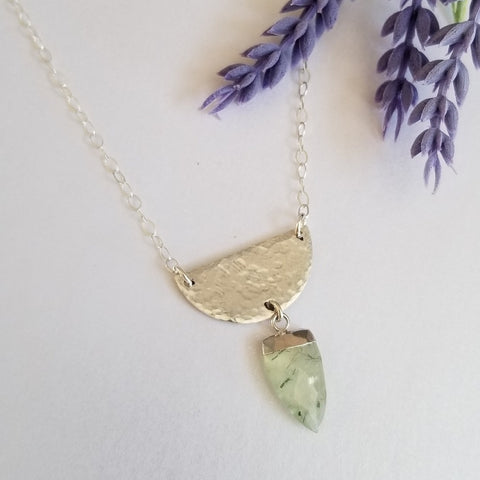 Sterling Silver Half Moon necklace with gemstone
