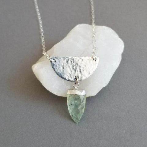 Sterling Silver Hammered Half Moon Necklace with Prehnite Gemstone