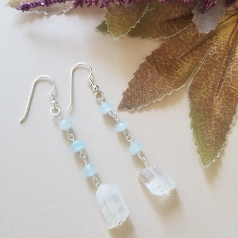 Aquamarine and Moonstone Dangle Earrings, Sterling Silver or Gold Filled
