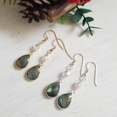 Labradorite and Crystal Earrings, Sterling Silver or Gold