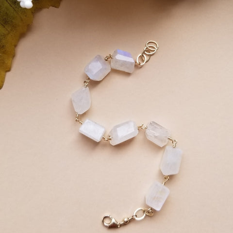 Statement jewelry handmade in the USA, Moonstone chunky bracelet