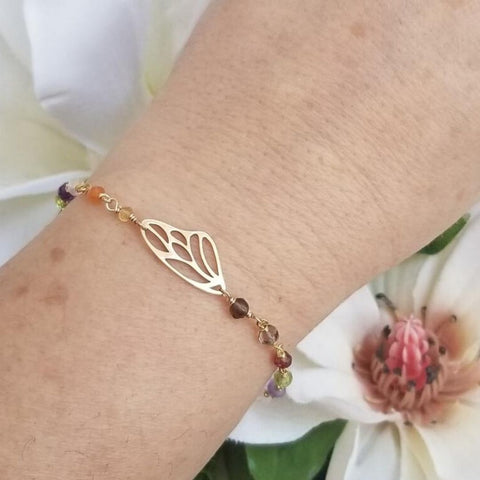 Gold gemstone bracelet, gift for Mom